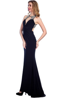Halter Backless Chiffon Crystal Formal Maxi Evening Gown Prom Dresses