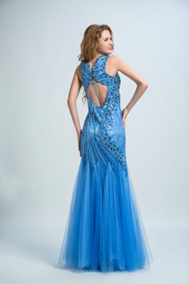 Mermaid/Trumpet Floor-length Sleeveless V-neck Beading Natural Lace-up Prom Dress