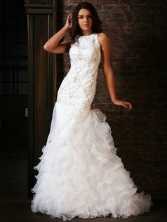 Bravo Mermaid Organza Round Brought  Tiered Court Train Wedding Dresses