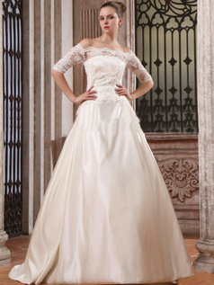 Noble Ball Gown Satin Off-the-shoulder Lace Wedding Dresses