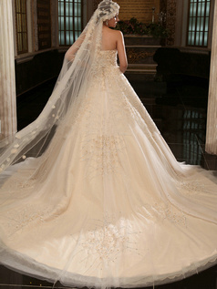 Luxurious Ball Gown Tulle Chapel Train Flower Wedding Dresses