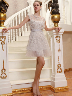 Glamorous A-Line Tulle Round Brought Short Wedding Dresses