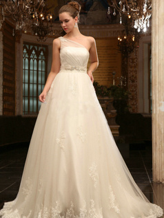 Snazzy A-Line One shoulder Chapel Train Lace Wedding Dresses