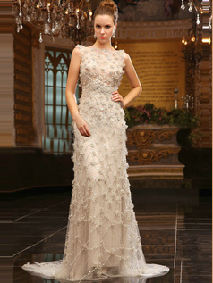Amazing Column Tulle Sweep Sequin Wedding Dresses