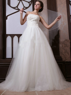 Excellent Princess Tube Top Court Train Flower Wedding Dresses