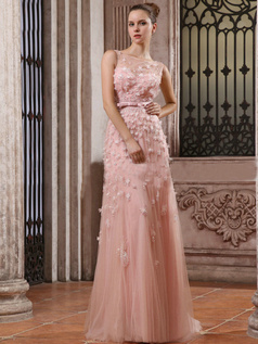 Perfect Column Tulle Sweep Flower Wedding Dresses