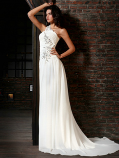 Amazing A-Line Chiffon One shoulder Court Train Crystal Wedding Dresses