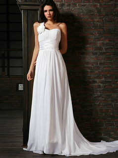 Remarkable A-Line Chiffon Court Train Sashes Wedding Dresses