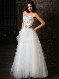 Precious Ball Gown Tulle Sweetheart Floor-length Beading Wedding Dresses