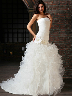 Bravo Mermaid Tulle Tube Top Court Train Flower Wedding Dresses