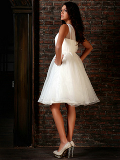 Amazing Princess Organza Straps Draped Knee-length Wedding Dresses
