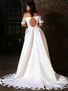 Brilliant Princess Satin Off-the-shoulder Flower Court Train Wedding Dresses