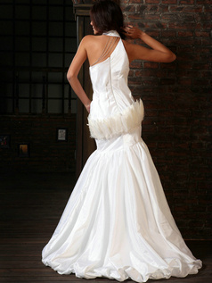 Awesome Mermaid Taffeta Halter Beading Sweep Train Wedding Dresses