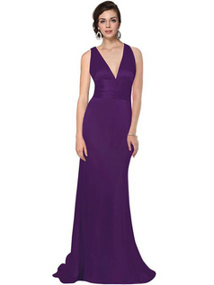 Mermaid Trailing V-Neck Bridesmaid Dresses