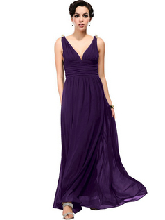 Women's Elegant V-Neck Evening Gown