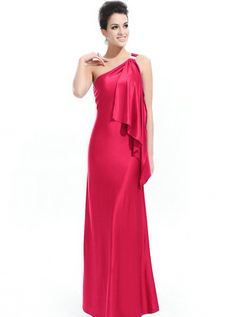 Womens Stretchy Single Shoulder Prom Gown Evening Dress