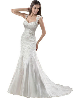 Removable Lace Strap Chapel Train Wedding Dress