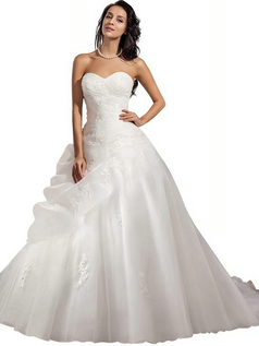 ELegant Strapless Ball Gown Satin Wedding Dress