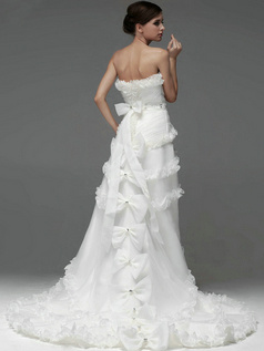 A-line Organza Strapless Asymmetrical Train Bowknot Beading Wedding Dresses