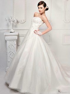 A-line Tulle Tube Top Strapless Lace-up Cathedral Train Beading Appliques Wedding Dresses
