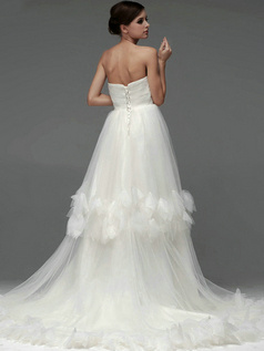 A-line Tulle Tube Top Strapless Lace-up Chapel Train Ruffle Wedding Dresses