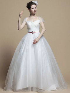 Appealing Ball Gown Tulle Off-the-shoulder Sweep Wedding Dresses