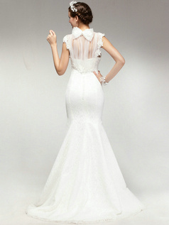 Appealing Mermaid Lace High neck Sweep Wedding Dresses