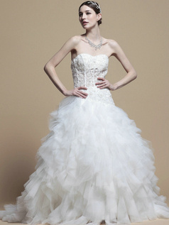 Appealing Princess Sweetheart Cathedral Train Cascading Ruffle Wedding Dresses