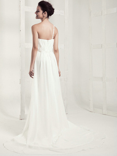 Appealing Column Chiffon One shoulder Draped Wedding Dresses