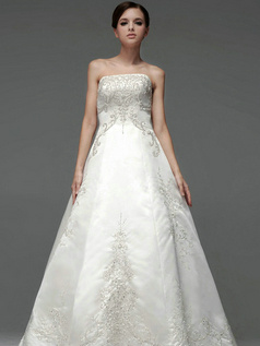 Ball Gown Satin Tube Top Strapless Empire Floor-length Embroidery Wedding Dresses