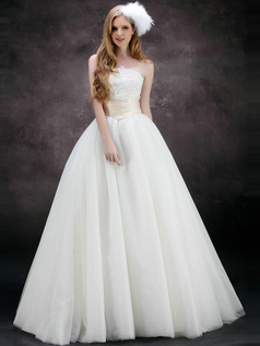 Beautiful A-Line Strapless Tube Top Floor-length Tulle Sashes Wedding Dresses