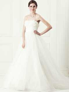 Beautiful Ball Gown Tube Top Chapel Train Flower Wedding Dresses