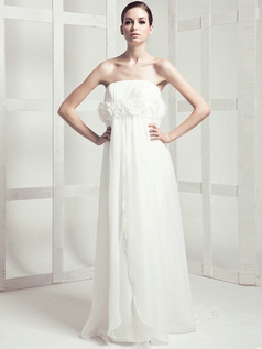 Beautiful Column Chiffon Sweep Flower Wedding Dresses