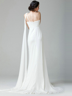 Beautiful Column One shoulder Chiffon Beading Wedding Dress