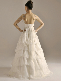 Brilliant A-Line Organza Straps Floor-length Beading Cascading Ruffle Wedding Dresses