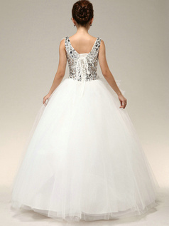 Brilliant Ball Gown Straps Cascading Ruffle Crystal Rhinestone Wedding Dresses