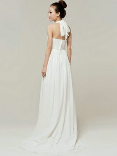 Brilliant Column Chiffon Halter Beading Appliques Wedding Dresses