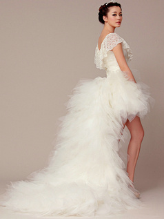 Detachable Princess V-neck Asymmetrical Train Cascading Ruffle Wedding Dresses