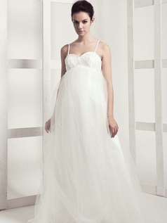 Elegant A-line Tulle Spaghetti Straps Floor-length Wedding Dresses