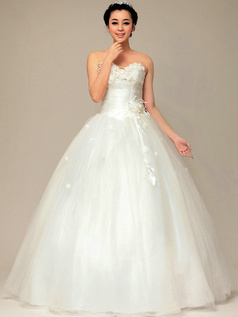Elegant Ball Gown Sweetheart Floor-length Flower Wedding Dresses