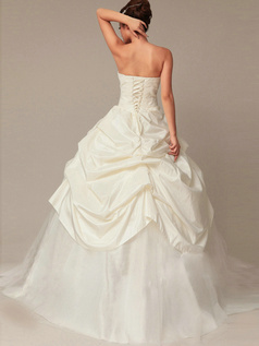 Elegant Ball Gown Tulle Floor-length Pick-Ups Wedding Dresses