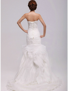 Elegant Mermaid Organza Tube Top Tiered Wedding Dresses