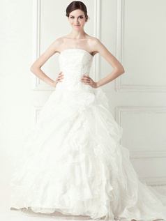 Elegant Princess Organza Cathedral Train Pick-Ups Wedding Dresses