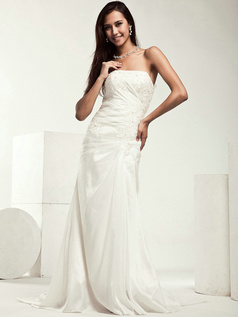 Elegant Column Taffeta Sweep Appliques Wedding Dresses