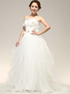 Fantasy Ball Gown Tulle Flower Tube Top Wedding Dresses