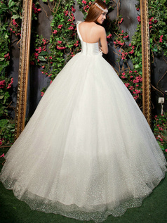 Glamorous Ball Gown One shoulder Floor-length Flower Wedding Dresses