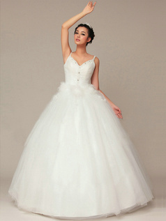 Glamorous Ball Gown Tulle Straps Rhinestone Wedding Dresses