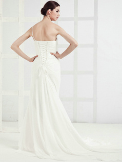 Glamorous Mermaid Chiffon One shoulder Chapel Train Wedding Dresses