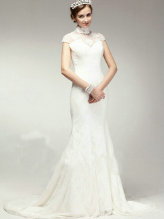 Glamorous Mermaid Lace High neck Chapel Train Wedding Dresses