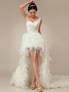 Glamorous Princess One shoulder Asymmetrical Train Cascading Ruffle Wedding Dresses